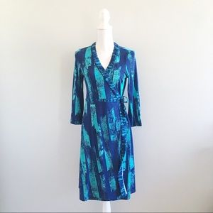 BCBG MaxAzria Blue and Turquoise Wrap Dress